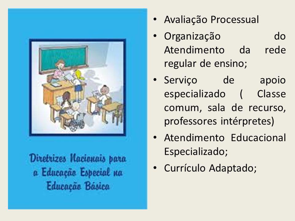 Avaliação Processual Organização do Atendimento da rede regular de ensino; Serviço de apoio especializado ( Classe comum, sala de recurso, professores