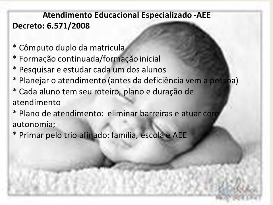 Atendimento Educacional Especializado -AEE Decreto: 6.571/2008 * Cômputo duplo da matricula * Formação continuada/formação inicial * Pesquisar e estud