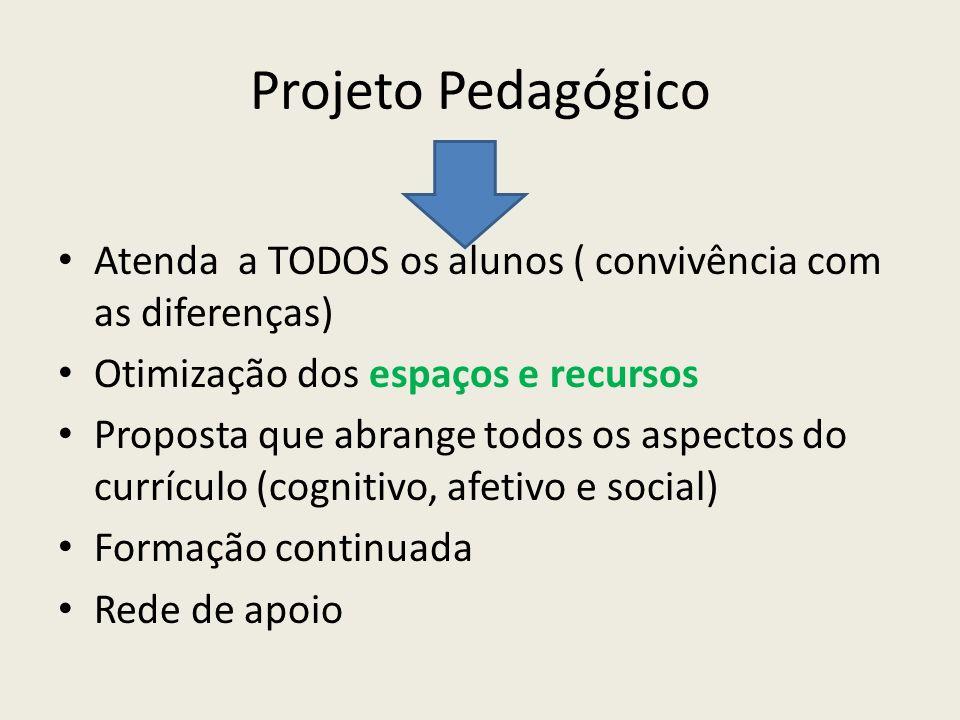 Projeto Pedagógico Atenda a TODOS os alunos ( convivência com as diferenças) Otimização dos espaços e recursos Proposta que abrange todos os aspectos