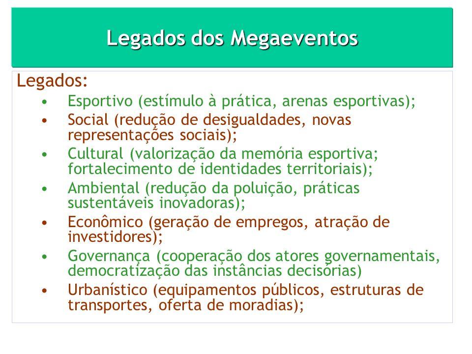 Legados dos Megaeventos Legados: Esportivo (estímulo à prática, arenas esportivas); Social (redução de desigualdades, novas representações sociais); C