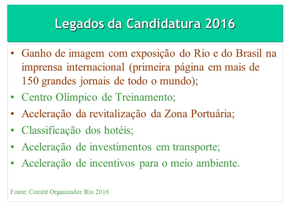 Legados da Candidatura 2016 Ganho de imagem com exposição do Rio e do Brasil na imprensa internacional (primeira página em mais de 150 grandes jornais