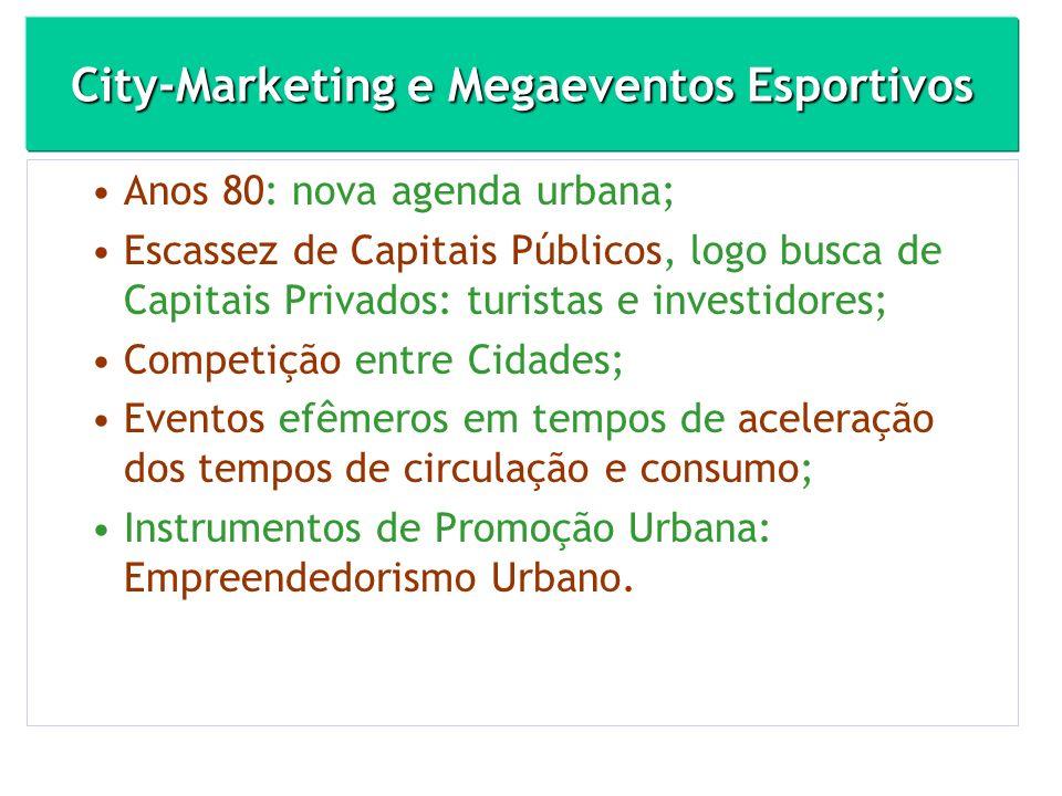 City-Marketing e Megaeventos Esportivos Anos 80: nova agenda urbana; Escassez de Capitais Públicos, logo busca de Capitais Privados: turistas e invest