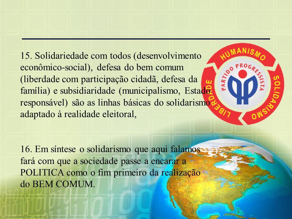 14. O terceiro princípio, o princípio da subsidiaridade, se transforma em municipalismo, pois o estado não deve fazer o que o município faz; nem a Uni