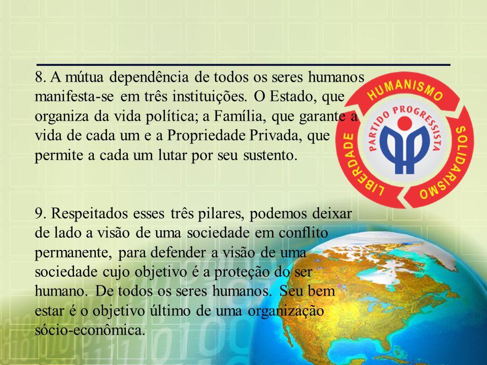 8.A mútua dependência de todos os seres humanos manifesta-se em três instituições.