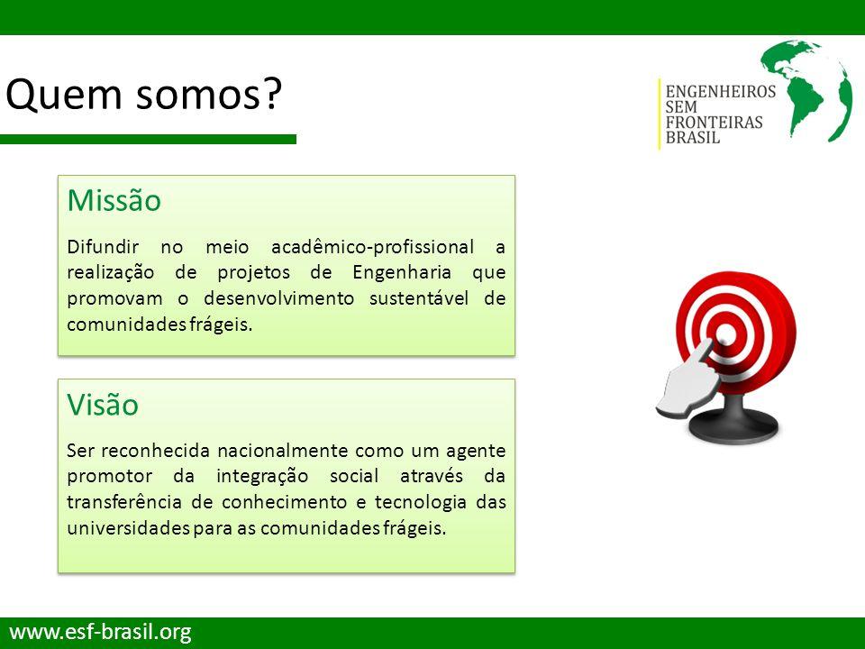 Quem somos? www.esf-brasil.org Missão Difundir no meio acadêmico-profissional a realização de projetos de Engenharia que promovam o desenvolvimento su