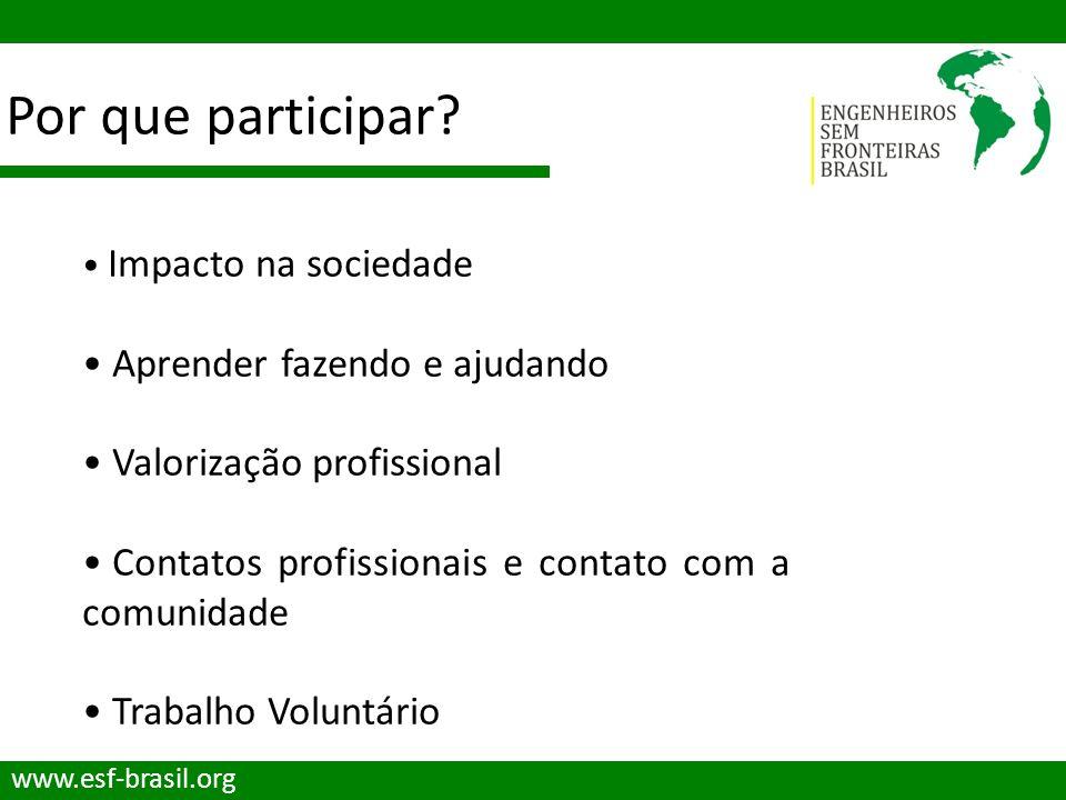 Por que participar? www.esf-brasil.org Impacto na sociedade Aprender fazendo e ajudando Valorização profissional Contatos profissionais e contato com
