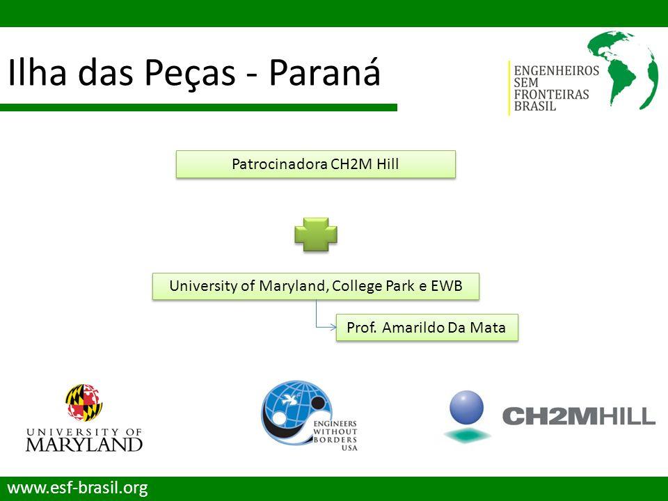 Ilha das Peças - Paraná www.esf-brasil.org Patrocinadora CH2M Hill University of Maryland, College Park e EWB Prof. Amarildo Da Mata