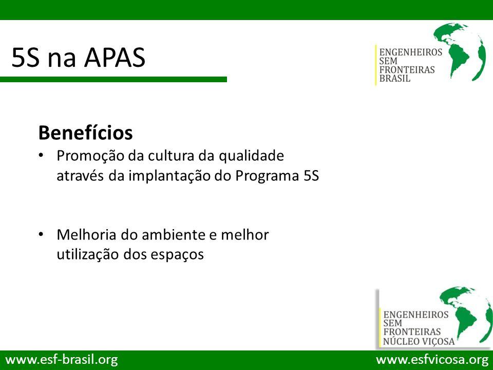 5S na APAS www.esf-brasil.orgwww.esfvicosa.org Benefícios Promoção da cultura da qualidade através da implantação do Programa 5S Melhoria do ambiente