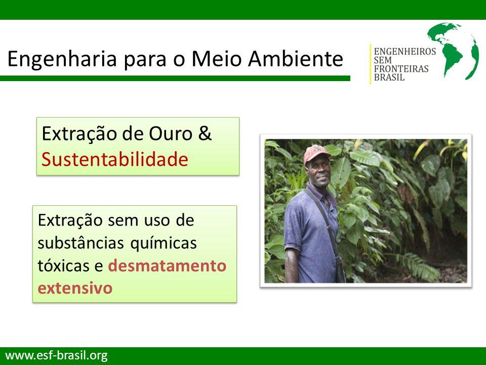 Engenharia para o Meio Ambiente www.esf-brasil.org Extração de Ouro & Sustentabilidade Extração sem uso de substâncias químicas tóxicas e desmatamento