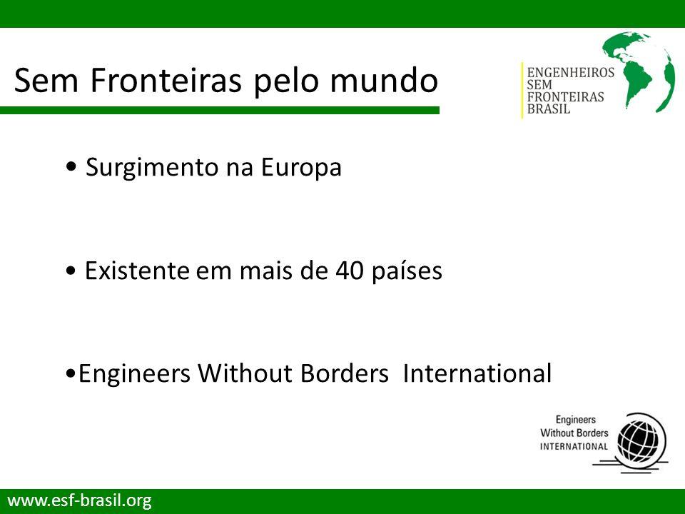 Sem Fronteiras pelo mundo www.esf-brasil.org Surgimento na Europa Existente em mais de 40 países Engineers Without Borders International