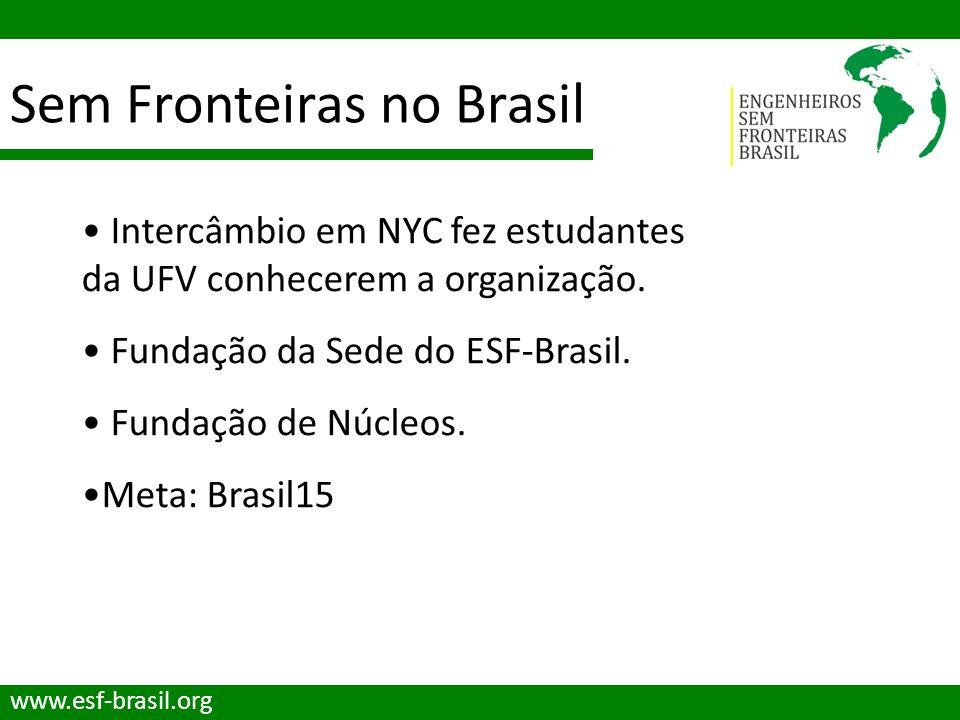 Sem Fronteiras no Brasil www.esf-brasil.org Intercâmbio em NYC fez estudantes da UFV conhecerem a organização. Fundação da Sede do ESF-Brasil. Fundaçã