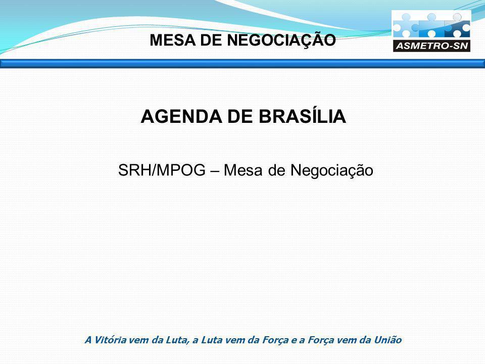 MESA DE NEGOCIAÇÃO AGENDA DE BRASÍLIA SRH/MPOG – Mesa de Negociação A Vitória vem da Luta, a Luta vem da Força e a Força vem da União