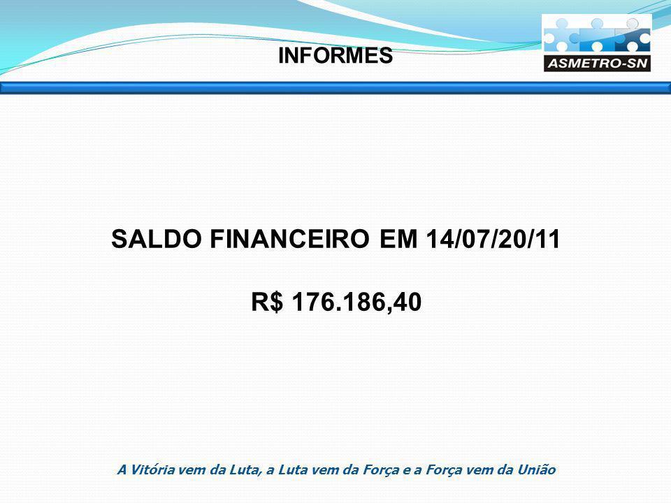 SALDO FINANCEIRO EM 14/07/20/11 R$ 176.186,40 INFORMES A Vitória vem da Luta, a Luta vem da Força e a Força vem da União