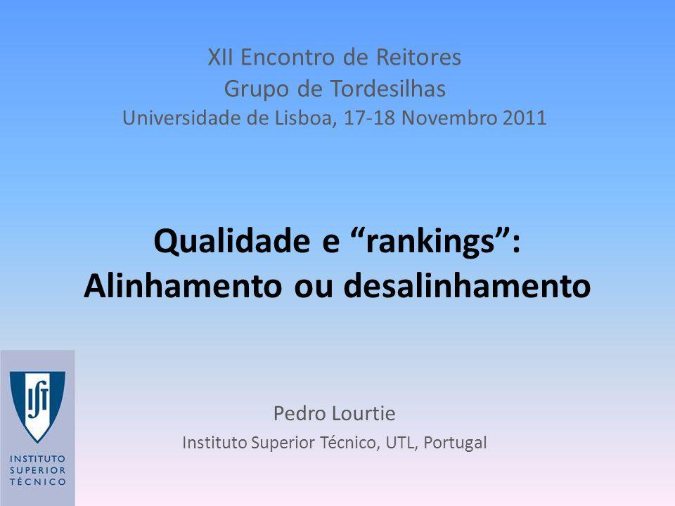 Qualidade e rankings: Alinhamento ou desalinhamento Pedro Lourtie Instituto Superior Técnico, UTL, Portugal XII Encontro de Reitores Grupo de Tordesil