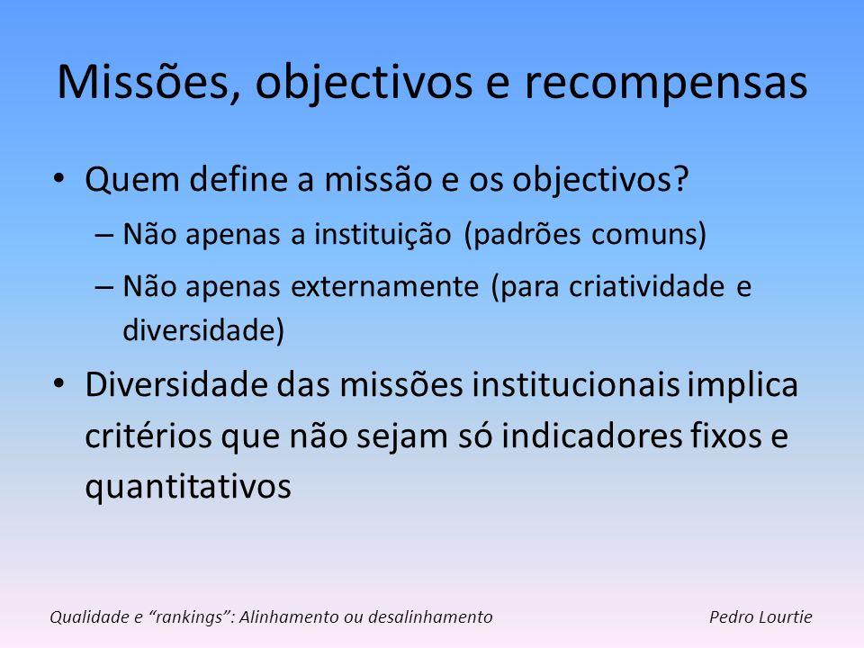 Missões, objectivos e recompensas Quem define a missão e os objectivos? – Não apenas a instituição (padrões comuns) – Não apenas externamente (para cr