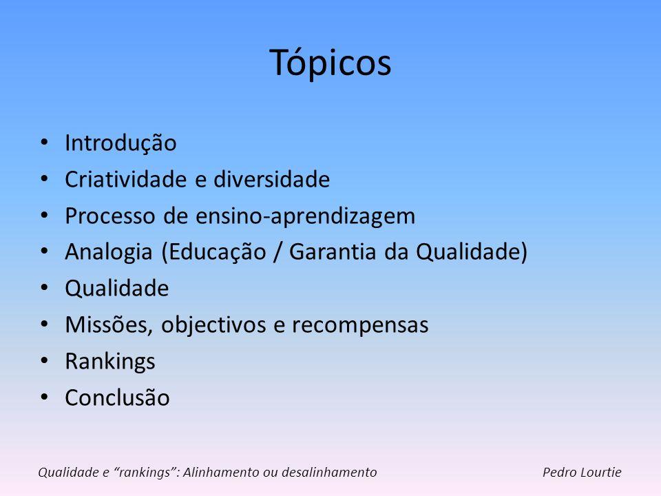Tópicos Introdução Criatividade e diversidade Processo de ensino-aprendizagem Analogia (Educação / Garantia da Qualidade) Qualidade Missões, objectivo