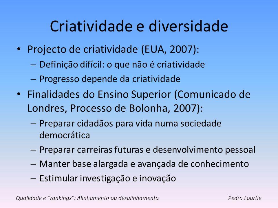 Criatividade e diversidade Projecto de criatividade (EUA, 2007): – Definição difícil: o que não é criatividade – Progresso depende da criatividade Fin