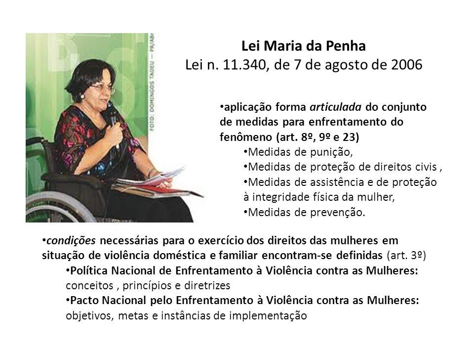 Lei Maria da Penha Lei n. 11.340, de 7 de agosto de 2006 aplicação forma articulada do conjunto de medidas para enfrentamento do fenômeno (art. 8º, 9º