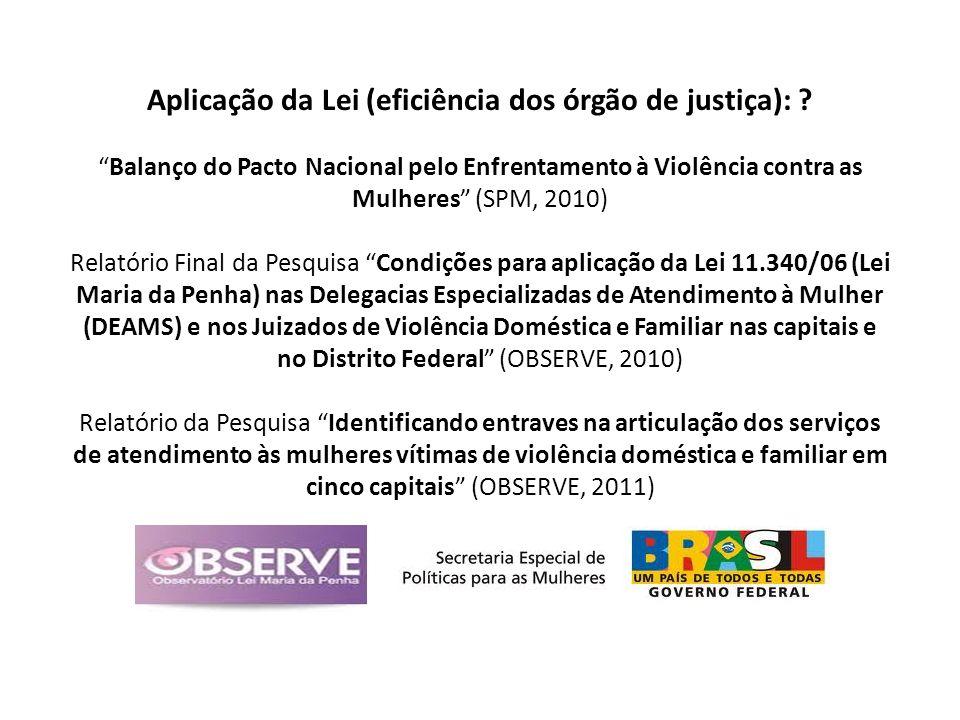Aplicação da Lei (eficiência dos órgão de justiça): ? Balanço do Pacto Nacional pelo Enfrentamento à Violência contra as Mulheres (SPM, 2010) Relatóri