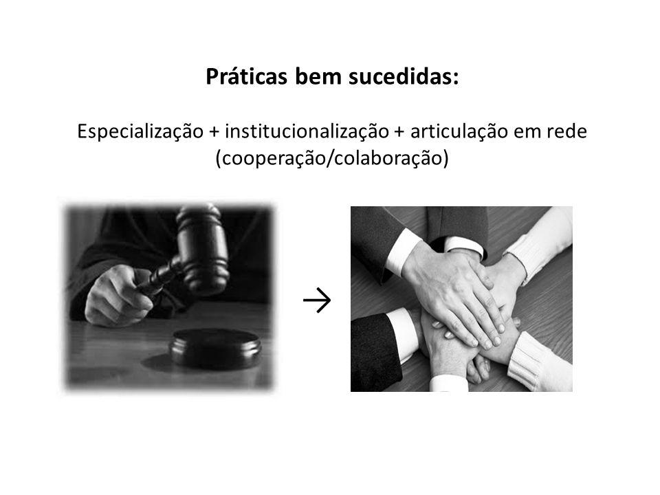 Práticas bem sucedidas: Especialização + institucionalização + articulação em rede (cooperação/colaboração)