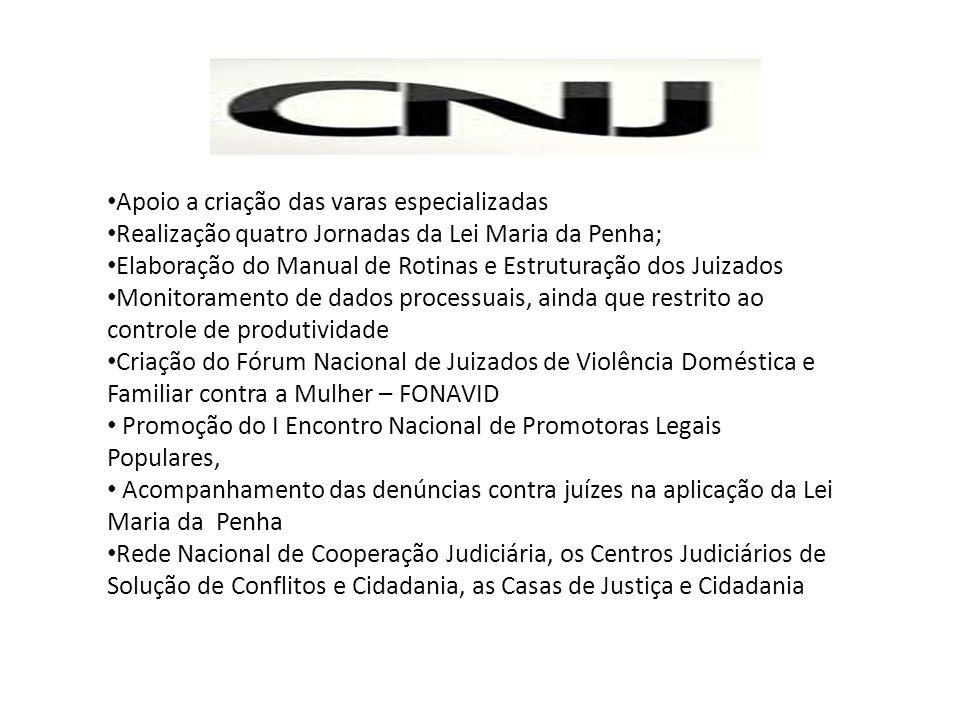 Apoio a criação das varas especializadas Realização quatro Jornadas da Lei Maria da Penha; Elaboração do Manual de Rotinas e Estruturação dos Juizados