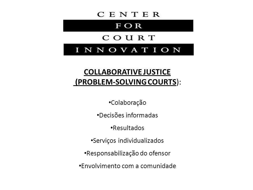 COLLABORATIVE JUSTICE (PROBLEM-SOLVING COURTS): Colaboração Decisões informadas Resultados Serviços individualizados Responsabilização do ofensor Envo