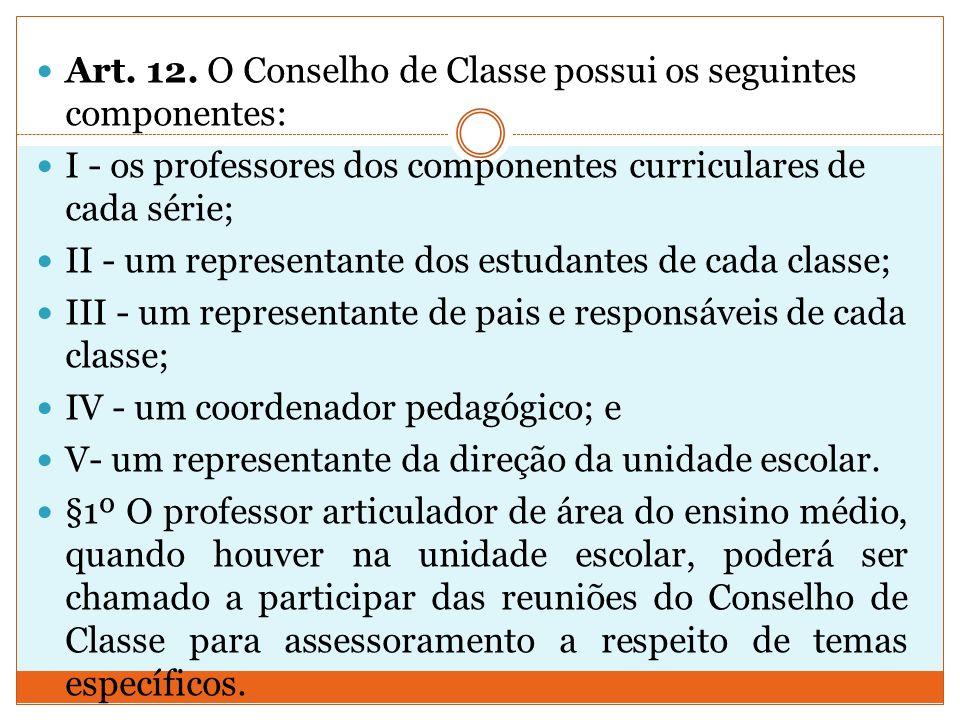 Art. 12. O Conselho de Classe possui os seguintes componentes: I - os professores dos componentes curriculares de cada série; II - um representante do