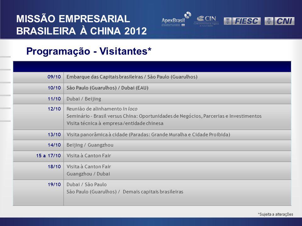 Programação - Visitantes* 09/10Embarque das Capitais brasileiras / São Paulo (Guarulhos) 10/10São Paulo (Guarulhos) / Dubai (EAU) 11/10Dubai / Beijing