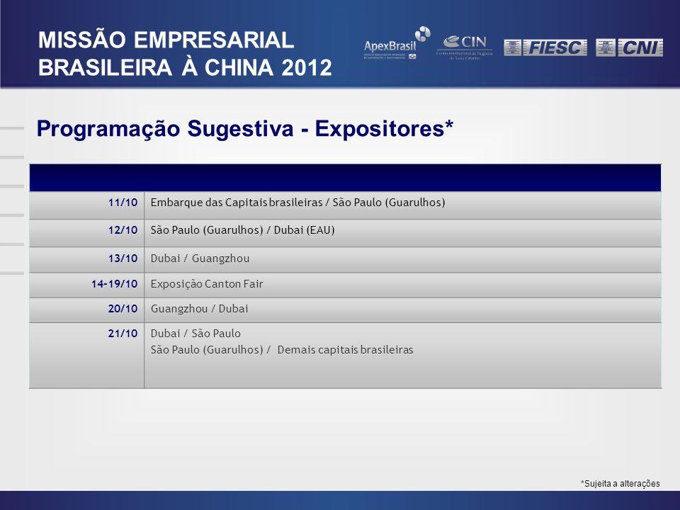 Programação Sugestiva - Expositores* 11/10Embarque das Capitais brasileiras / São Paulo (Guarulhos) 12/10São Paulo (Guarulhos) / Dubai (EAU) 13/10Duba