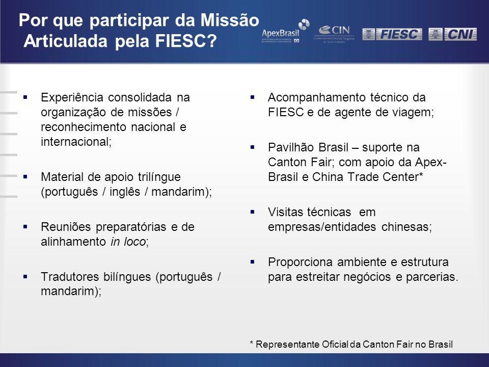 Por que participar da Missão Articulada pela FIESC? Experiência consolidada na organização de missões / reconhecimento nacional e internacional; Mater