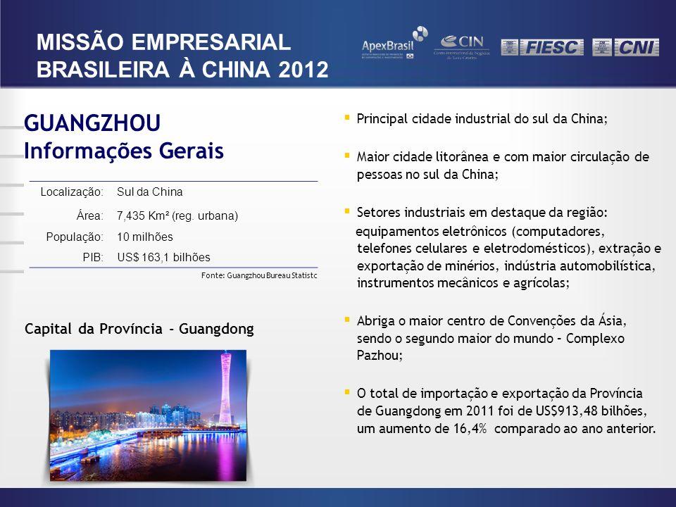 Capital da Província - Guangdong GUANGZHOU Informações Gerais Localização:Sul da China Área:7,435 Km² (reg. urbana) População:10 milhões PIB:US$ 163,1