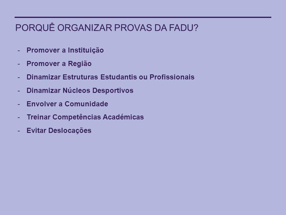 PORQUÊ ORGANIZAR PROVAS DA FADU? -Promover a Instituição -Promover a Região -Dinamizar Estruturas Estudantis ou Profissionais -Dinamizar Núcleos Despo