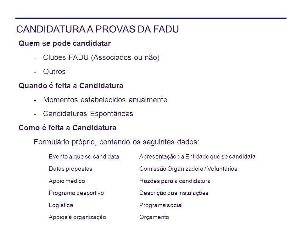 CANDIDATURA A PROVAS DA FADU Quem se pode candidatar -Clubes FADU (Associados ou não) -Outros Quando é feita a Candidatura -Momentos estabelecidos anu