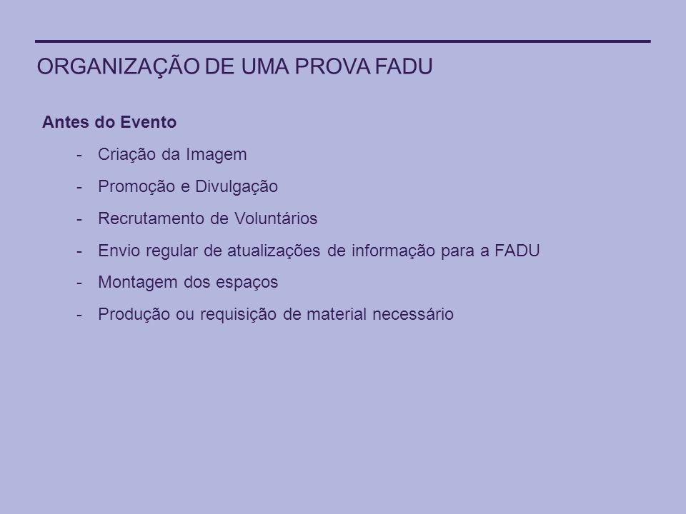 ORGANIZAÇÃO DE UMA PROVA FADU Antes do Evento -Criação da Imagem -Promoção e Divulgação -Recrutamento de Voluntários -Envio regular de atualizações de
