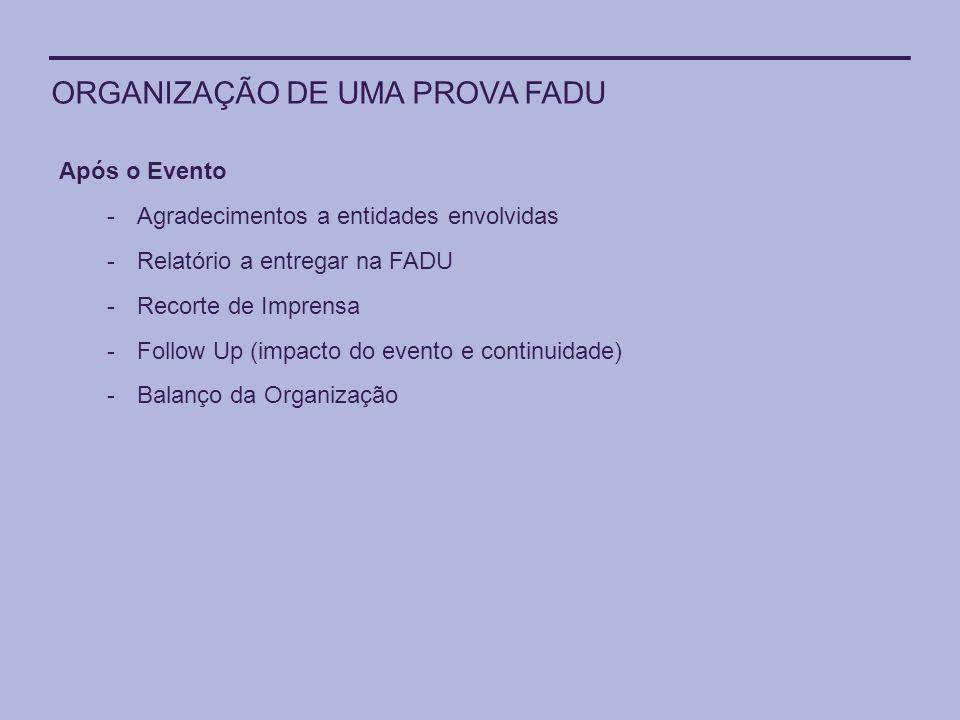 ORGANIZAÇÃO DE UMA PROVA FADU Após o Evento -Agradecimentos a entidades envolvidas -Relatório a entregar na FADU -Recorte de Imprensa -Follow Up (impa