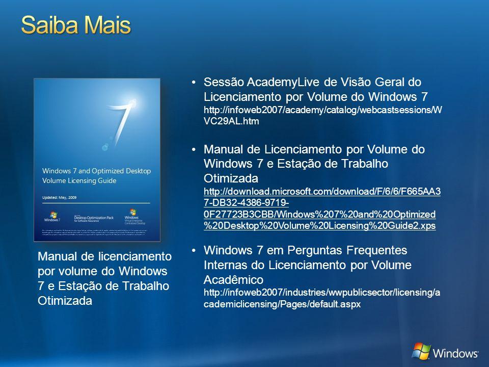 Manual de licenciamento por volume do Windows 7 e Estação de Trabalho Otimizada Sessão AcademyLive de Visão Geral do Licenciamento por Volume do Windo