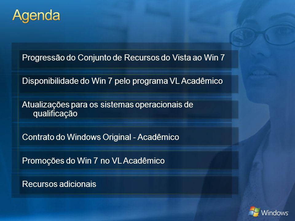 Progressão do Conjunto de Recursos do Vista ao Win 7 Disponibilidade do Win 7 pelo programa VL Acadêmico Atualizações para os sistemas operacionais de