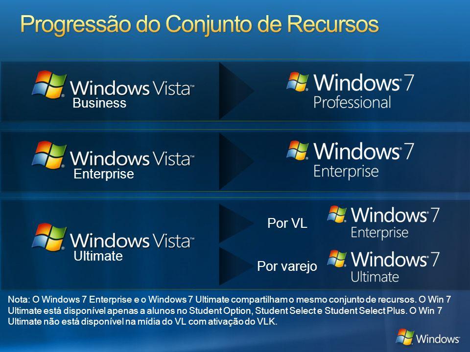 Enterprise Business Ultimate Por VL Por varejo Nota: O Windows 7 Enterprise e o Windows 7 Ultimate compartilham o mesmo conjunto de recursos. O Win 7