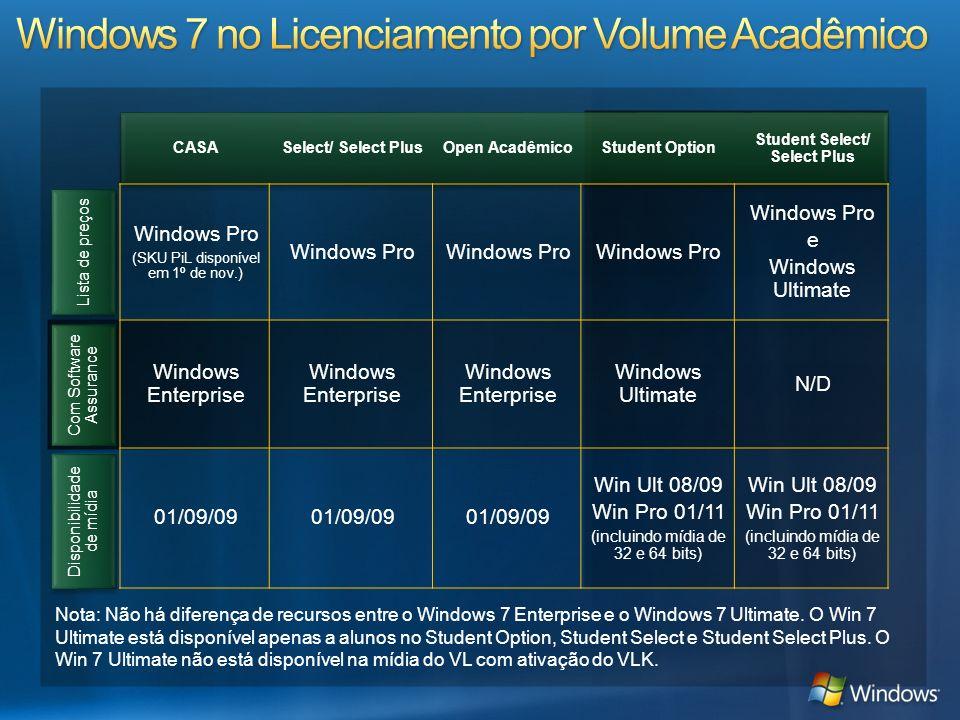 Lista de preços Com Software Assurance CASASelect/ Select PlusOpen AcadêmicoStudent Option Student Select/ Select Plus Windows Pro (SKU PiL disponível