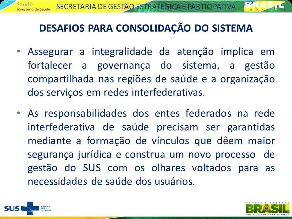 Assegurar a integralidade da atenção implica em fortalecer a governança do sistema, a gestão compartilhada nas regiões de saúde e a organização dos se