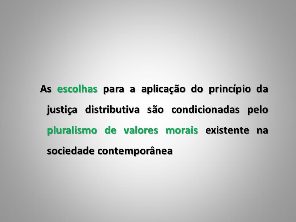 As escolhas para a aplicação do princípio da justiça distributiva são condicionadas pelo pluralismo de valores morais existente na sociedade contempor