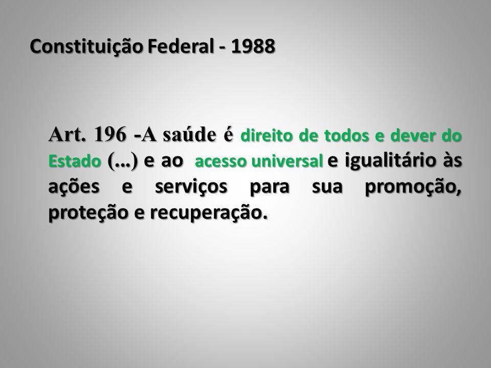Constituição Federal - 1988 Art. 196 -A saúde é direito de todos e dever do Estado (...) e ao acesso universal e igualitário às ações e serviços para