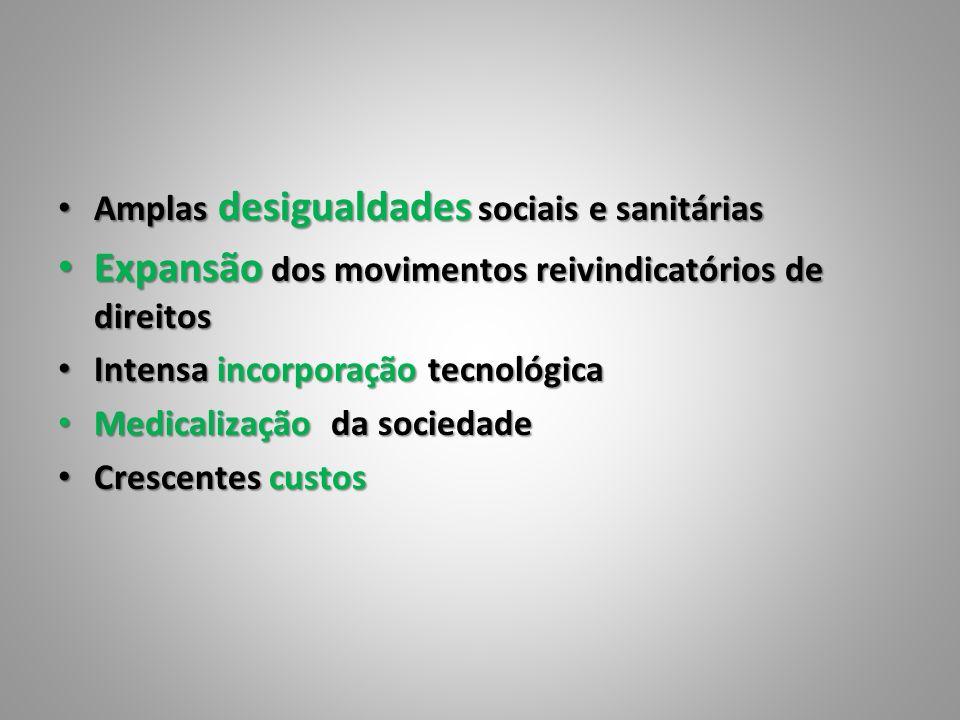 Amplas desigualdades sociais e sanitárias Amplas desigualdades sociais e sanitárias Expansão dos movimentos reivindicatórios de direitos Expansão dos