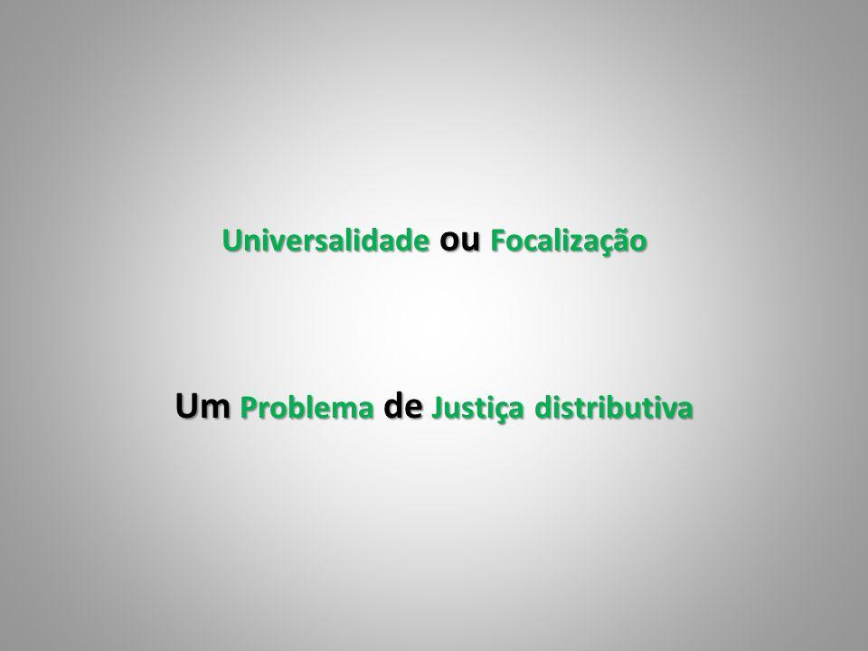 Universalidade ou Focalização Um Problema de Justiça distributiva