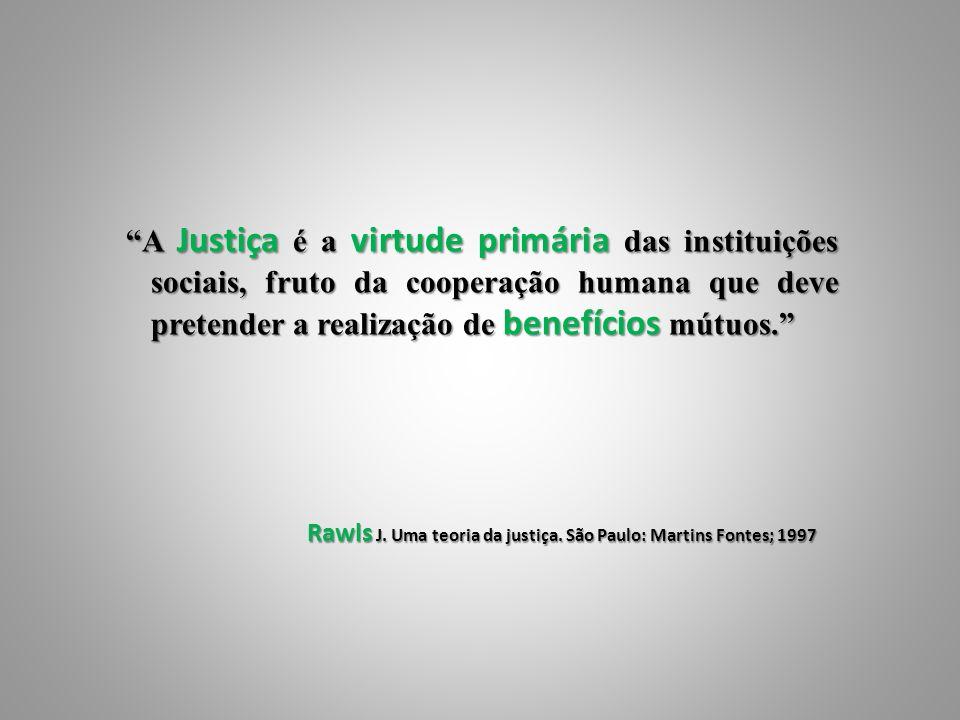 A Justiça é a virtude primária das instituições sociais, fruto da cooperação humana que deve pretender a realização de benefícios mútuos. A Justiça é