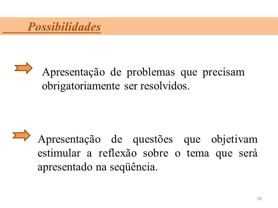 18 Apresentação de problemas que precisam obrigatoriamente ser resolvidos. Apresentação de questões que objetivam estimular a reflexão sobre o tema qu