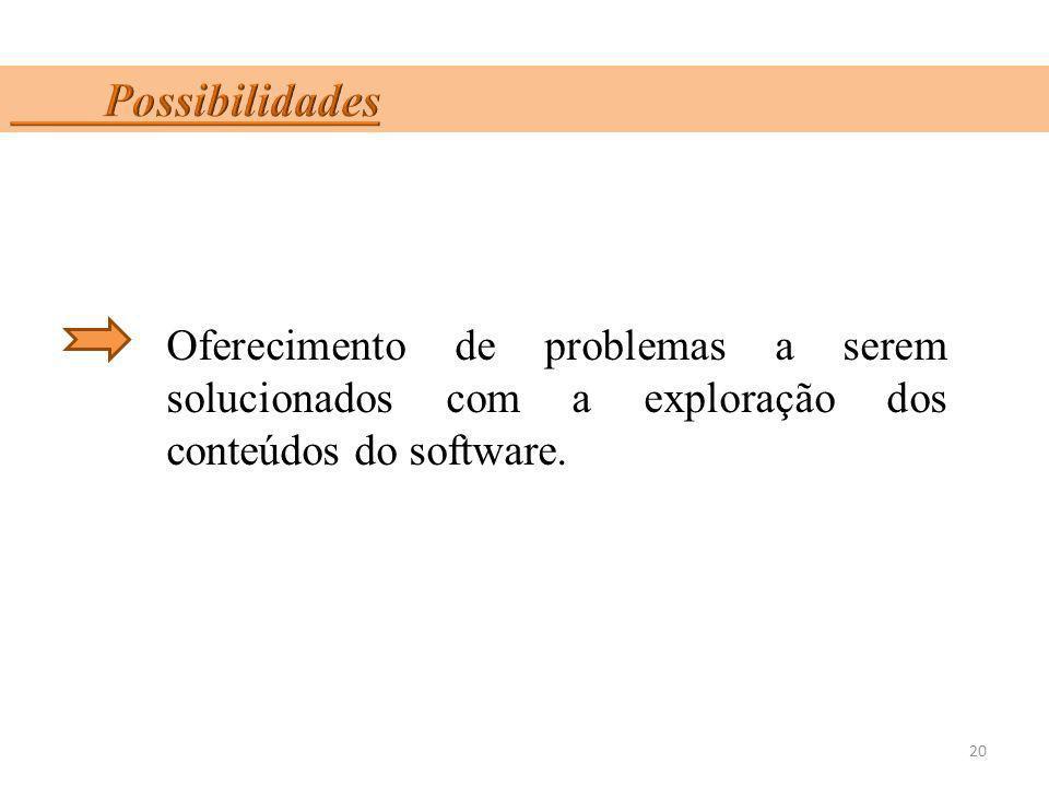 Oferecimento de problemas a serem solucionados com a exploração dos conteúdos do software. 20