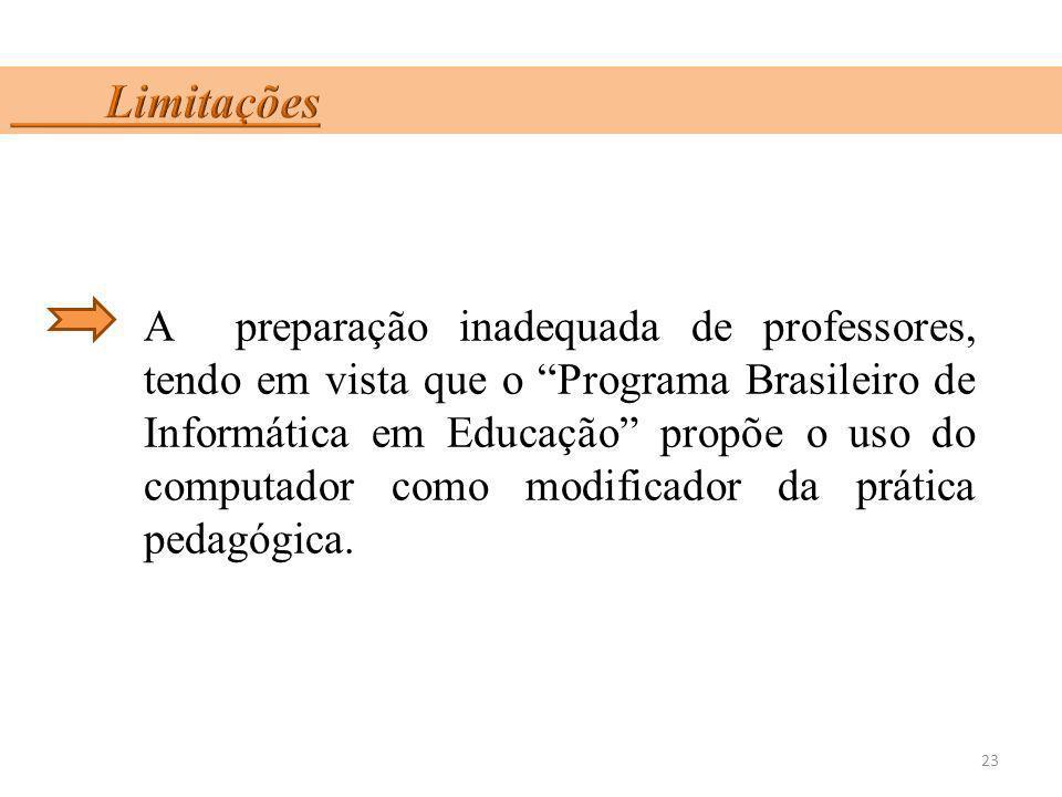 A preparação inadequada de professores, tendo em vista que o Programa Brasileiro de Informática em Educação propõe o uso do computador como modificado