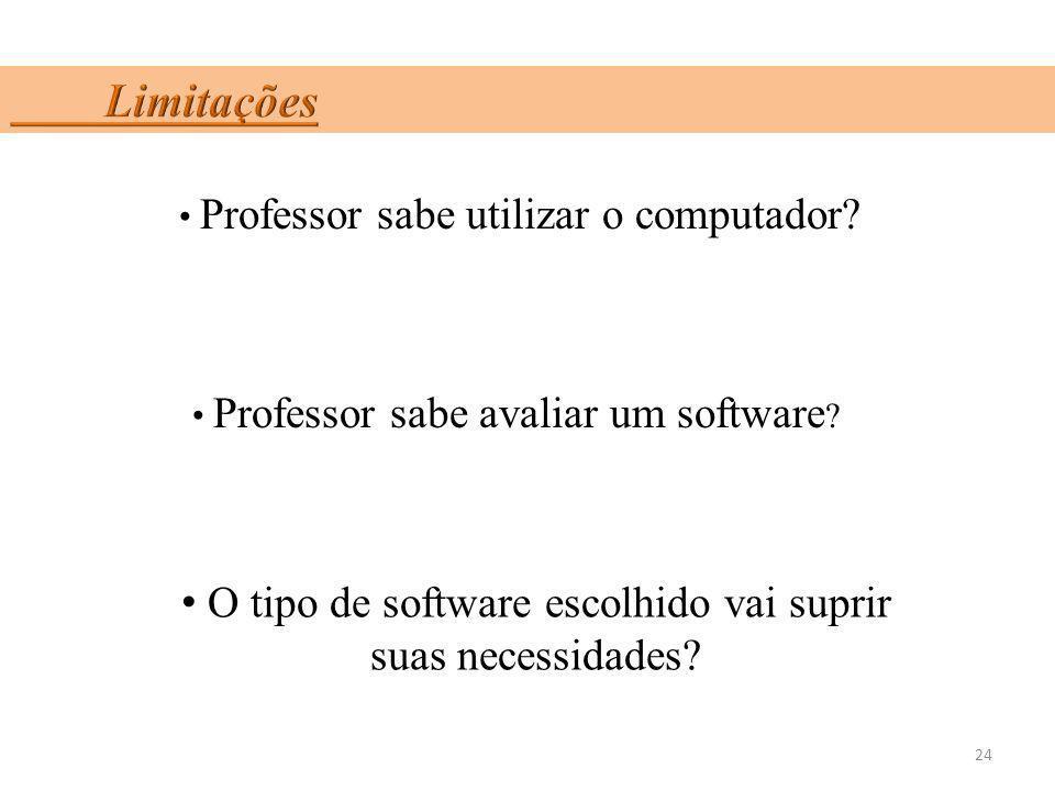 24 Professor sabe utilizar o computador? Professor sabe avaliar um software ? O tipo de software escolhido vai suprir suas necessidades?