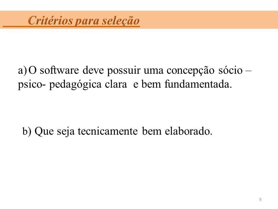 a)O software deve possuir uma concepção sócio – psico- pedagógica clara e bem fundamentada. b ) Que seja tecnicamente bem elaborado. 9